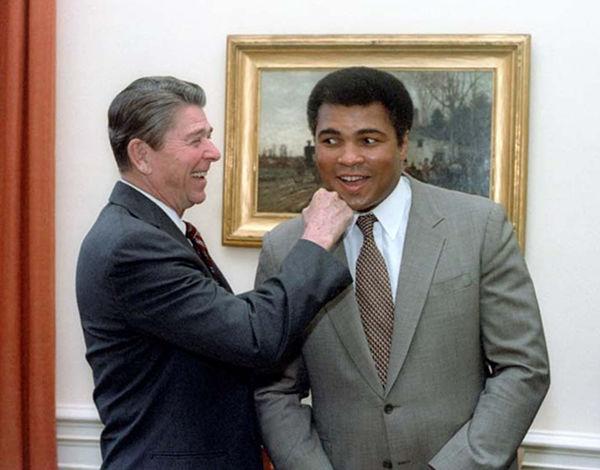 Ronald Reagan and Muhammad Ali. Courtesy Ronald Reagan Library