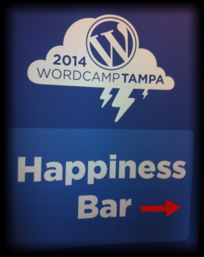 Happiness Bar sign Tampa WordCamp 2014