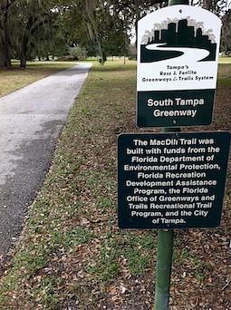 Sign for MacDill Trail. Gadsden Lake Park. Tampa, Florida