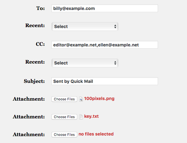 Quick Mail WordPress Plugin