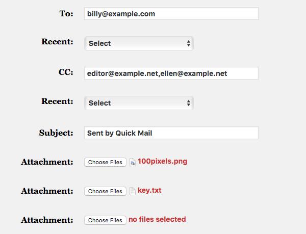 Quick Mail WordPress Plugin