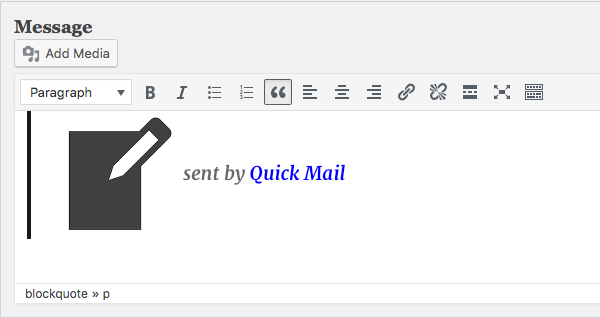 writing a rich text message with Quick Mail WordPress Plugin. Version 3.0.0