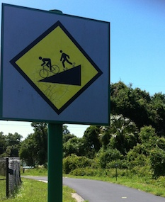 hill warning on Upper Tampa Bay Trail, Tampa Florida