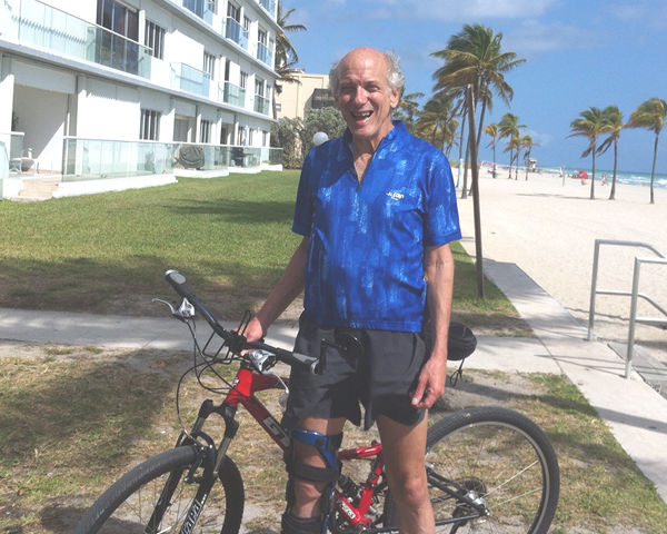 Former blogger Mitchell D. Miller with bicycle. Hollywood Beach, Florida.