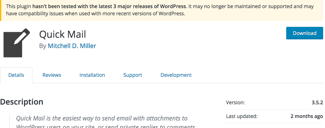 larger image of Quick Mail screenshot showing not updated in 3 versions, and 2 months