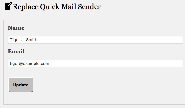 screenshot of Replace Quick Mail Sender plugin